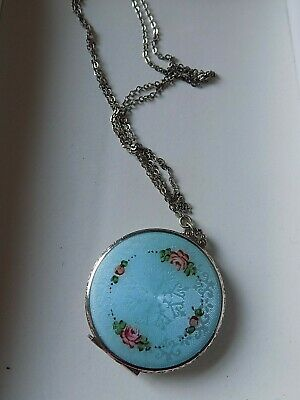 GORGEOUS Antique Floral Enamel Guilloche Compact Locket Necklace