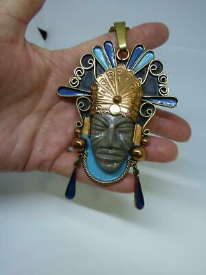 Vintage Large Mayan Aztec Warrior Copper Brass Medallion Necklace Crown Mexico