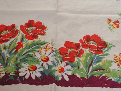 Vintage Print Tablecloth Poppy Flower Print Tablecloth Fields Of Flowers Poppies