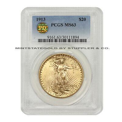 1913 $20 Gold Saint Gaudens PCGS MS63 PQ Approved Double Eagle Choice Grade Coin