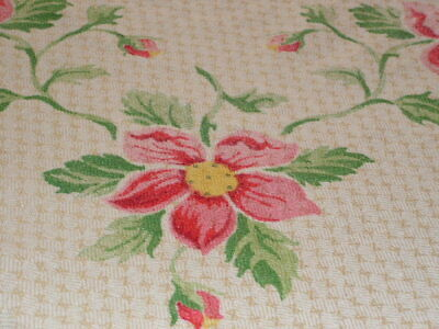 Vintage Tablecloth Cotton Woven Tablecloth Pink Petal Flowers Blooms & Buds