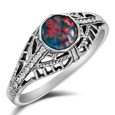 1CT Natural Red Fire Opal 925 Sterling Silver Filigree Ring Jewelry Sz 9