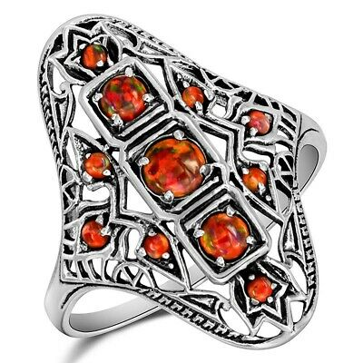 1CT Natural Red Fire Opal 925 Sterling Silver Art Nouveau Ring Jewelry Sz 6