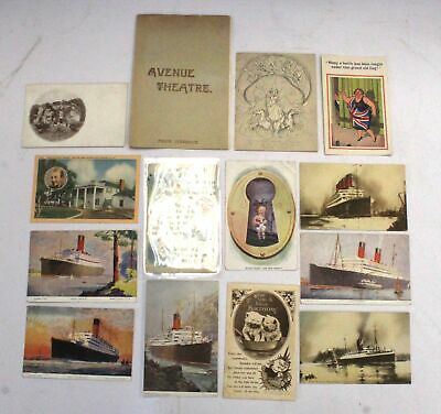 Collection of Antique 1910-30s POSTCARDS, Theatre Program & PUNCH Comic - N46