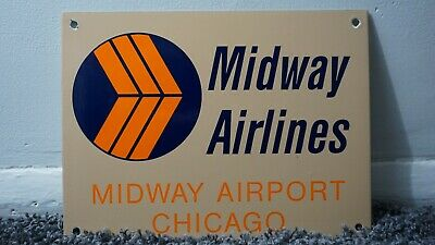 Vintage Midway Airport Porcelain Sign Gas Metal Aviation Oil Gasoline Chicago