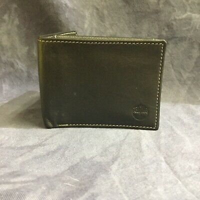 Timberland Men's Genuine Leather Passcase Wallet BLACK