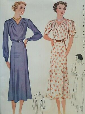 RARE 1930s McCall's Vintage Sewing DRESS Pattern Bust 38 30s McCalls Great Cond!