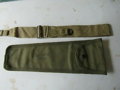 militaria  - WW-II issue utility strap and long canvas utility pouch