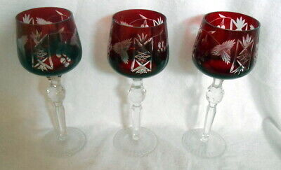 """THREE (3) Bohemian Czech Cut to Clear Crystal Ruby Red Hock Wine Goblets 8 1/4"""""""