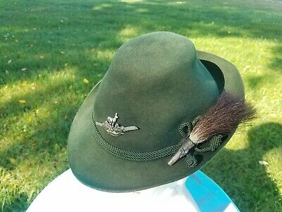 Vintage German Alpine Hat w/ Pins green felt Mayer-Hut  Dreher  (Oktoberfest)