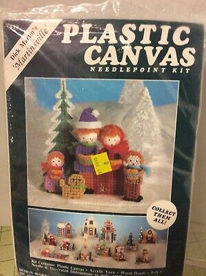 Vtg Christmas Needlepoint Kit Dick Martin's Martinsville Plastic Canvas village