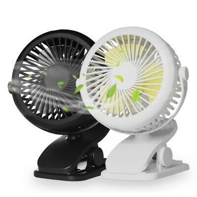 360° Outdoor Portable Small Fan Rechargeable USB Clip On Mini Cot Car Fan US