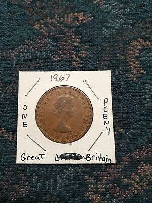1967 UK Great Britain British One 1 Penny Elizabeth II Coin XF