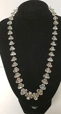 Antique Art Deco German Sterling Silver Faceted Crystal Bead Necklace Hallmarked