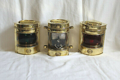 Antique Nautical Brass Lamps Set of 3 Starboard Masthead & Port Shepperton