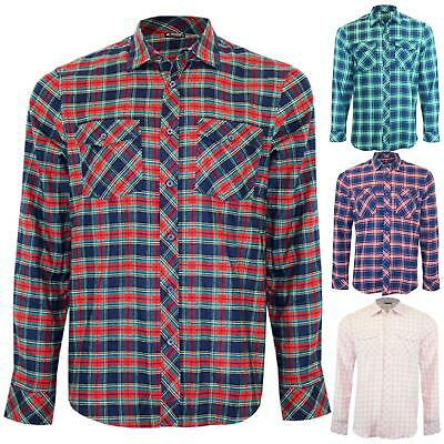 Mens Casual Work Shirt Lumberjack Long Sleeve Check Brushed Flannel Cotton Top