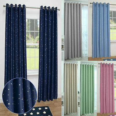 2X Thermal Blackout Star Curtains PAIR Eyelet Ready Made Kids Boys Girls Bedroom