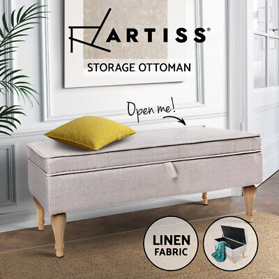Artiss Blanket Box Storage Ottoman Large Seat Fabric Chest Foot Stool Bench Rest