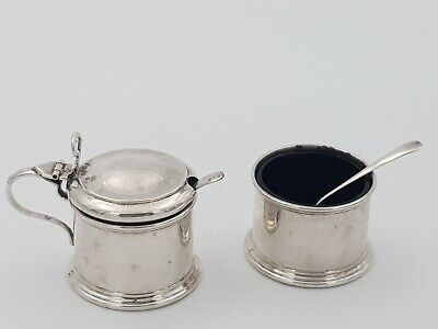 Mappin & Webb solid silver mustard & salt pot with Cobart glass and spoons