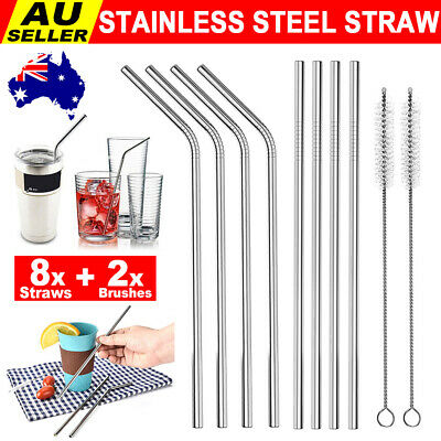 Set of 8 Stainless Steel Metal Straws 8.5'' Reusable Drinking Straws + 2 Brushes
