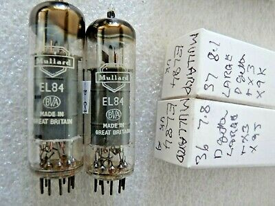 EL84 Mulllard UK D Getter 6BQ5 Matched Pair A  New Old Stock Valve Tube  SEP19C