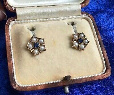 Fabulous Antique Art Deco 9Ct Gold Real Pearl & Sapphire Flower Earrings