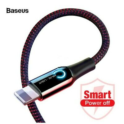 Baseus Braided Auto Disconnect Lightning Data USB Charging Cable iPhone X 8 7 6s