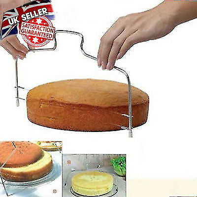 Stainless Steel Adjustable 2 Wire Cake Slicer Bread Dough Leveler Cutter Tools E