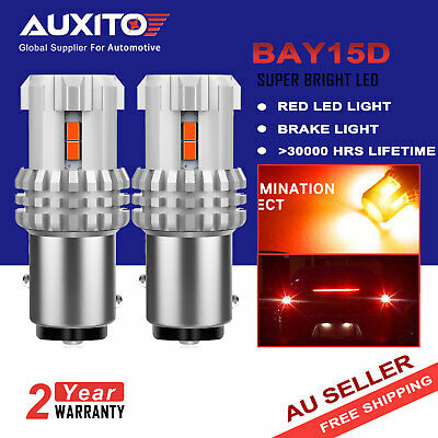 2X AUXITO BAY15D 1157 P21/5W RED LED Brake Tail Stop Indicator Light Bulb Globe