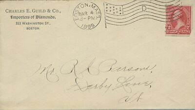 Charles Guild & Co Importers of Diamonds Boston MA Corner with Flag cancel