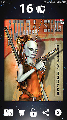Star Wars Card Trader Aurra Sing Heroes & Outlaws 100cc Rare Value Card!