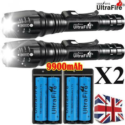 900000LM T6 LED Rechargeable High Power Torch Flashlight Lamps Light & Charger #