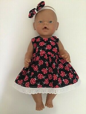 "DOLLS CLOTHES FOR 17"" BABY BORN~CABBAGE PATCH *Ladybirds~Dress~Headband*"