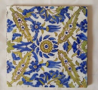 Charming Period Elsley Persian Design Hand Painted 6 Inch Tile Morris Interest