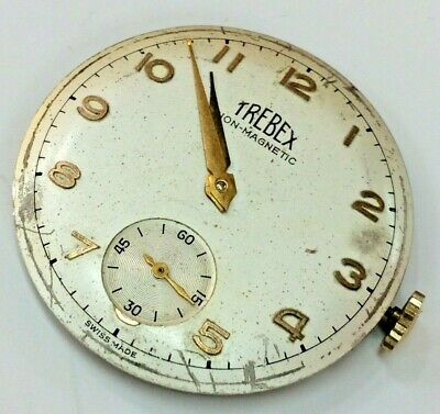 """Large Vintage Gents """"Trebex"""" Wristwatch Movement With Dial Working"""