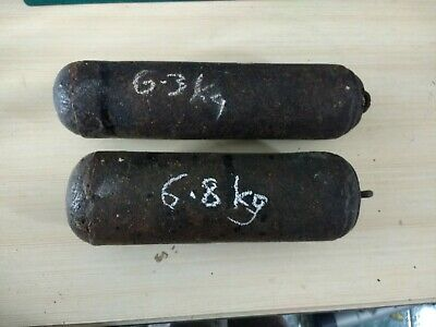 PAIR OF GOOD LONGCASE GRANDFATHER CLOCK  cast iron WEIGHTS