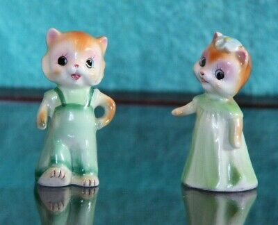 Pair of Antique Small Ceramic White Hand Painted Standing Cats Collectors item