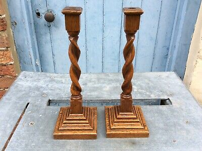 "Arts & Crafts Oak Candlesticks, Square Bases, Barley Twist, 14"" H, Free Uk Post"