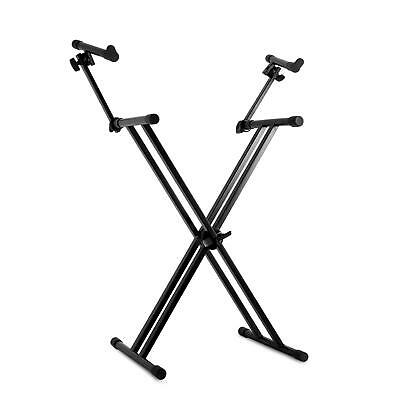 Support Stand Double Pliable Malone Pied  En X Pour 2X Clavier Piano Metal Noir