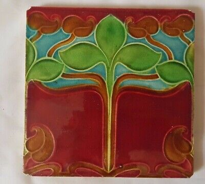 CHARMING ART NOUVEAU english FLORAL DESIGN TILE