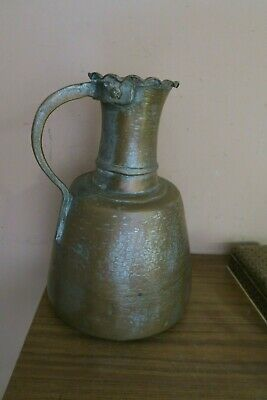 Vintage / Antique Arabic Handmade Hammered Copper Water Pitcher Ewer Jug 14""