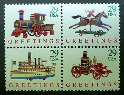 2711 - 14 MNH 1992 29c Christmas Toys B4 Train Fire Engine Horse Steamboat gifts