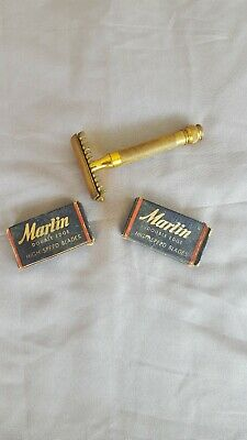Vintage gillette double edge safety razor and blades