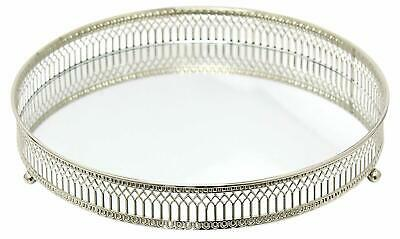 DISPLAY TRAY Mirror Glass Antique Decorative Silver Candle Plate  25cm TOP