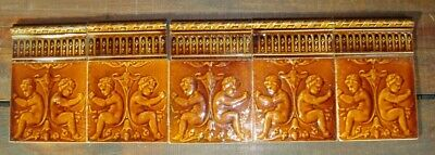 10 Original Antique Majolica Art Nouveau tiles cherubs orangebrown fireplace set