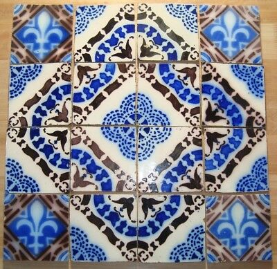 16 original antique tiles Ca1870 France Ideal Provecal Style table top kitchen
