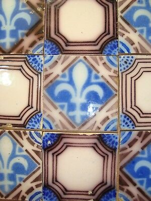 9 original antique tile c1870 France Provecal Style ideal for console table top