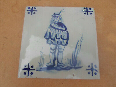 Antique Hand Painted Dutch Delft Tile with Dutch Person
