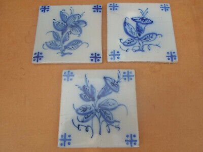 Antique Hand Painted Dutch Delft Tile x 3 with Tulip ? Flower Design