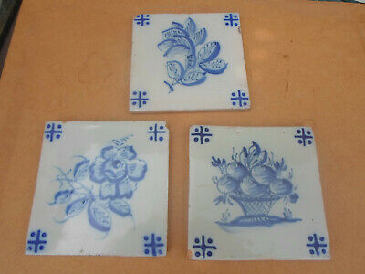 Antique Hand Painted Dutch Delft Tile x 3 with Flower Design